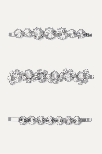 set-of-three-silver-tone-and-crystal-hair-slides by alessandra-rich