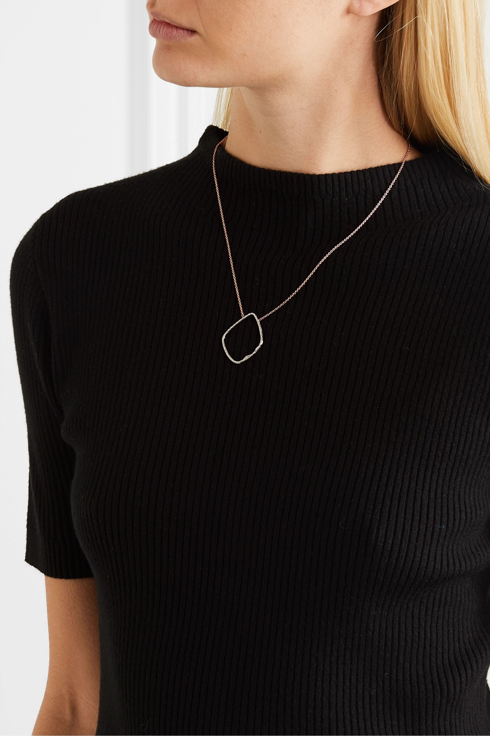 Monica Vinader Riva Hoop rose gold vermeil and sterling silver diamond necklace