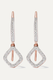 Monica Vinader Riva Mini Kite rose gold vermeil diamond earrings