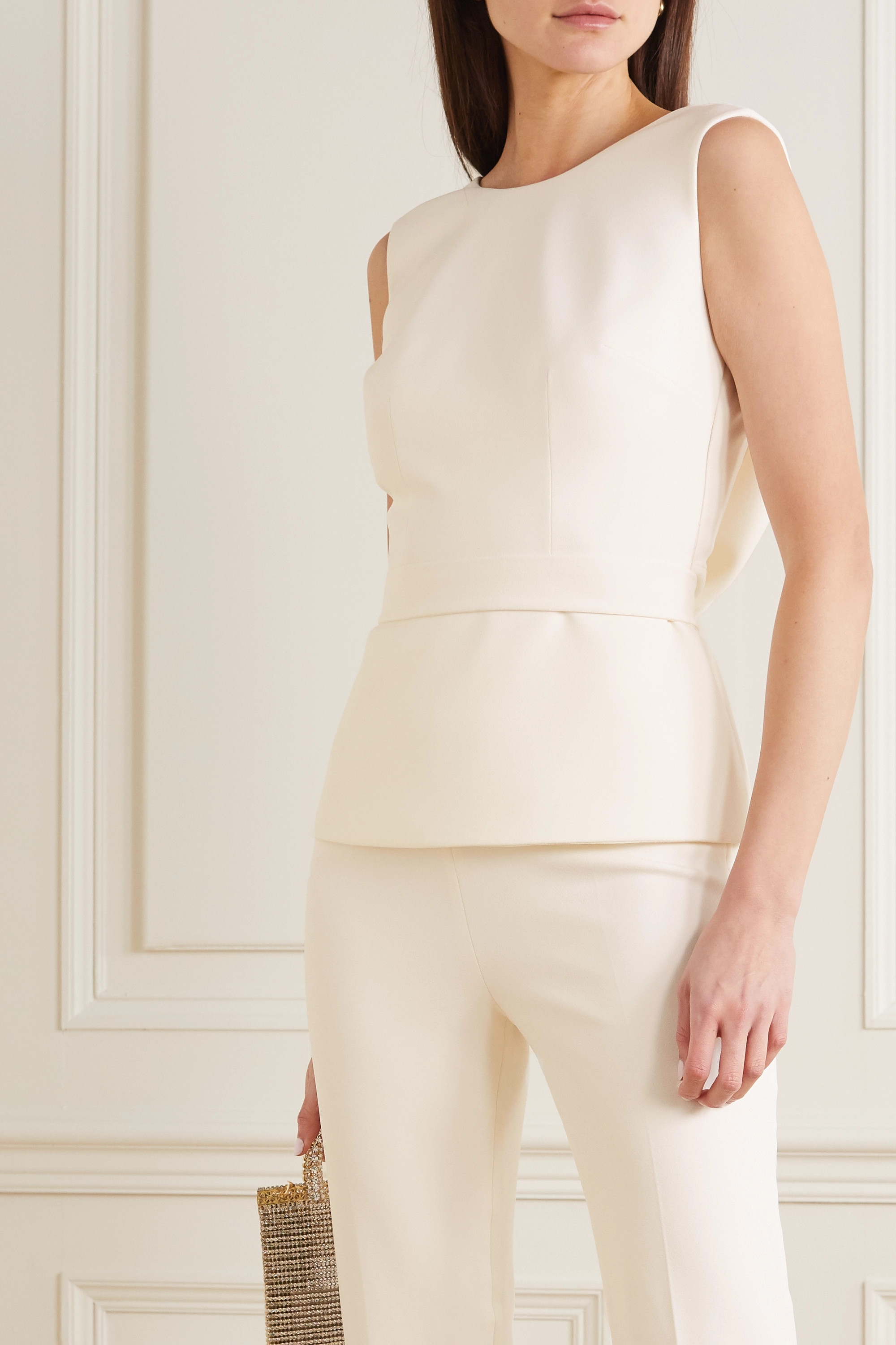 Safiyaa Riddhi belted open-back crepe top
