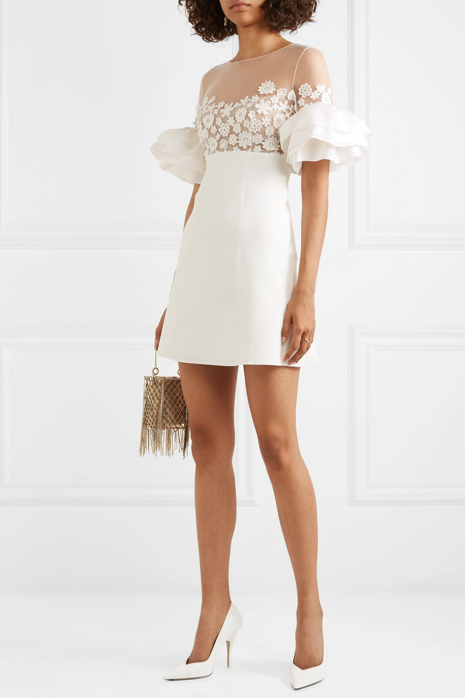 Rime Arodaky Astaire embroidered tulle, crepe and organza mini dress