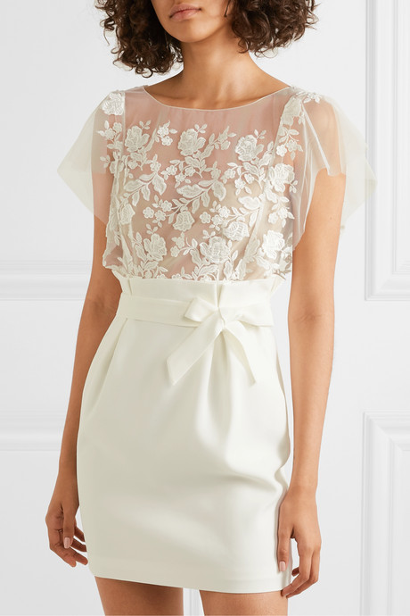 Baker embroidered tulle and crepe mini dress