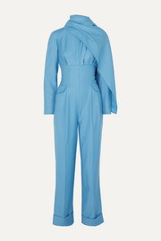 Harley cape-effect wool-gabardine jumpsuit