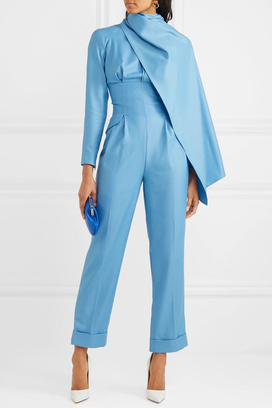 Emilia Wickstead Harley cape-effect wool-gabardine jumpsuit