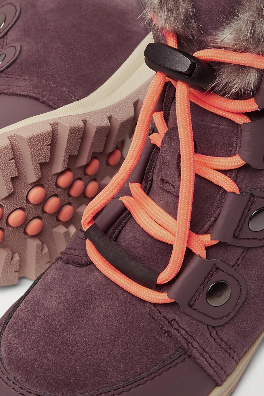 Sorel Kids Whitney faux fur-trimmed fleece-lined suede boots