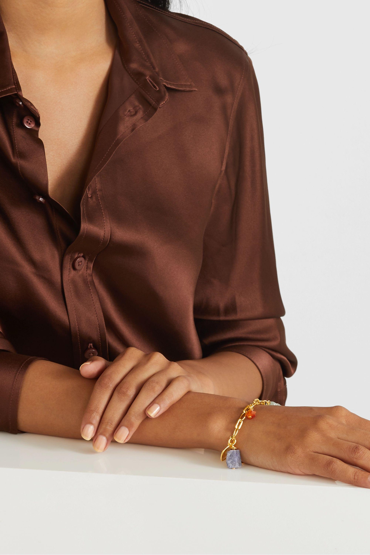 Monica Vinader + Caroline Issa gold vermeil multi-stone charm bracelet