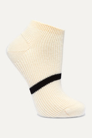 Striped ribbed cashmere socks
