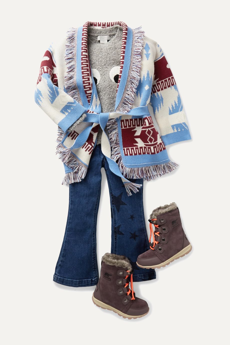 Alanui Kids Ages 4 - 12 belted fringed cashmere-jacquard cardigan