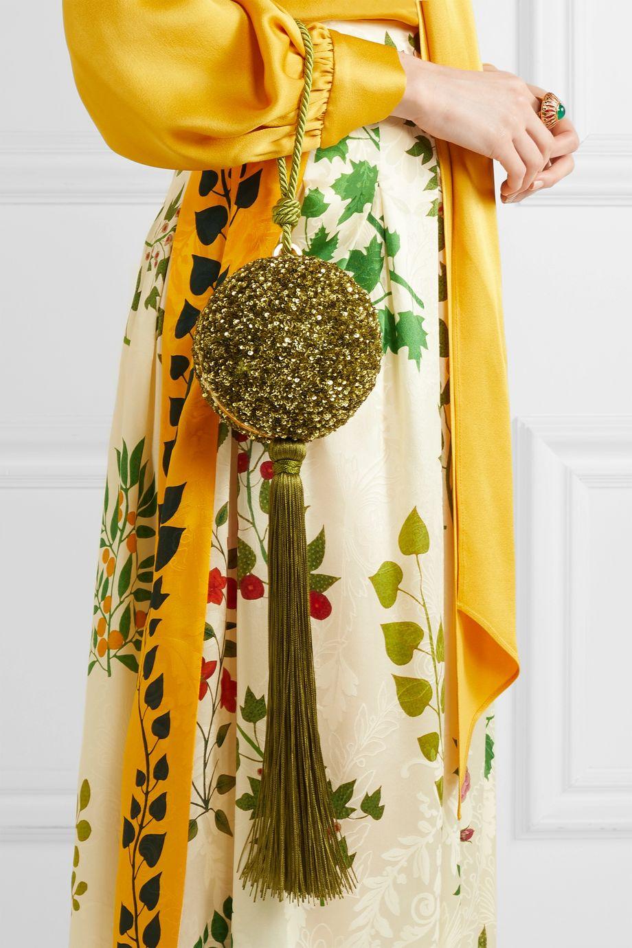 Oscar de la Renta Billiard tasseled sequined clutch