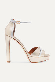 Malone Souliers Miranda 125 metallic leather platform sandals