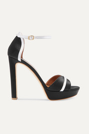Malone Souliers Miranda 125 metallic leather-trimmed satin platform sandals