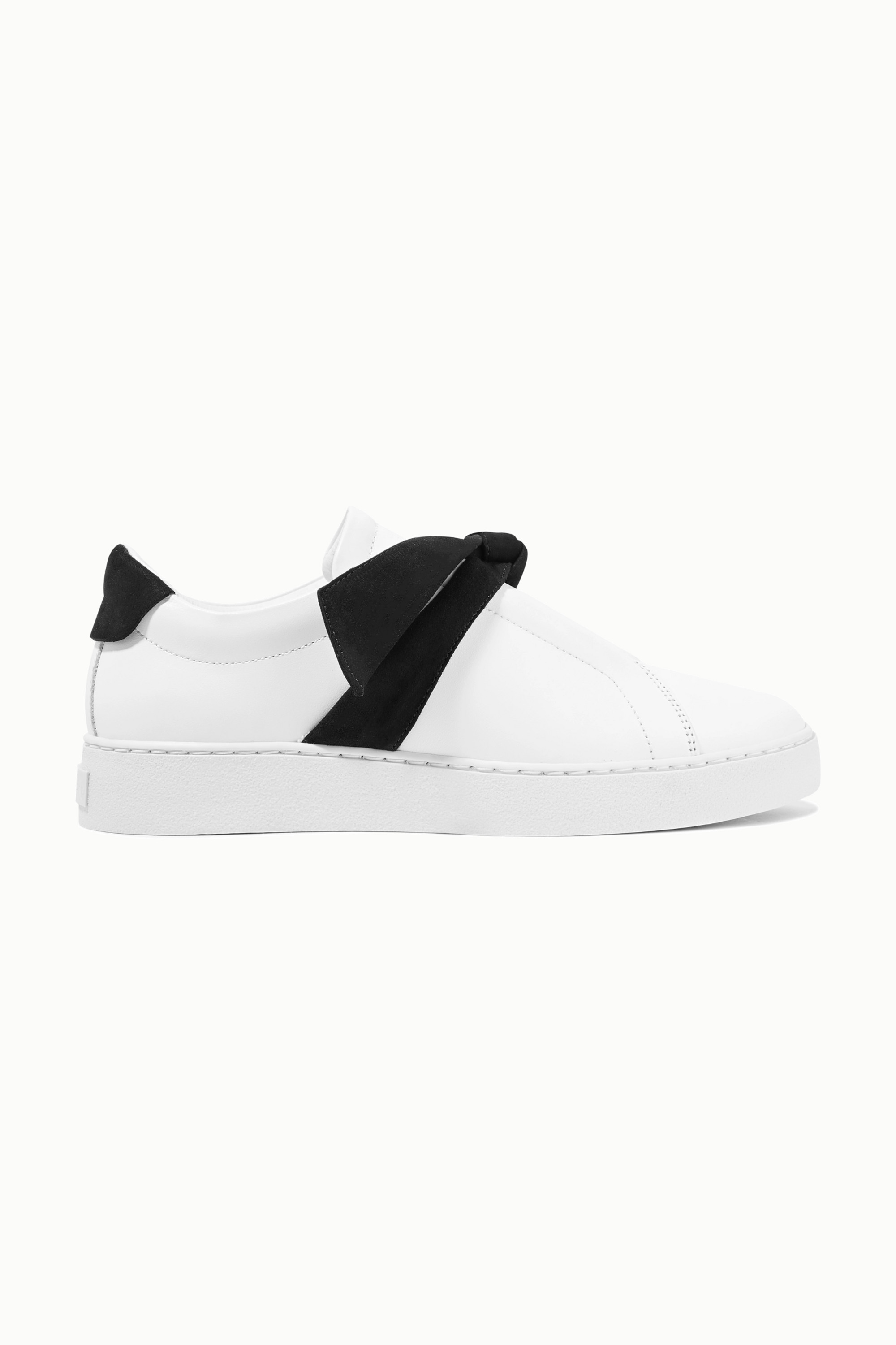 White Clarita bow-embellished suede