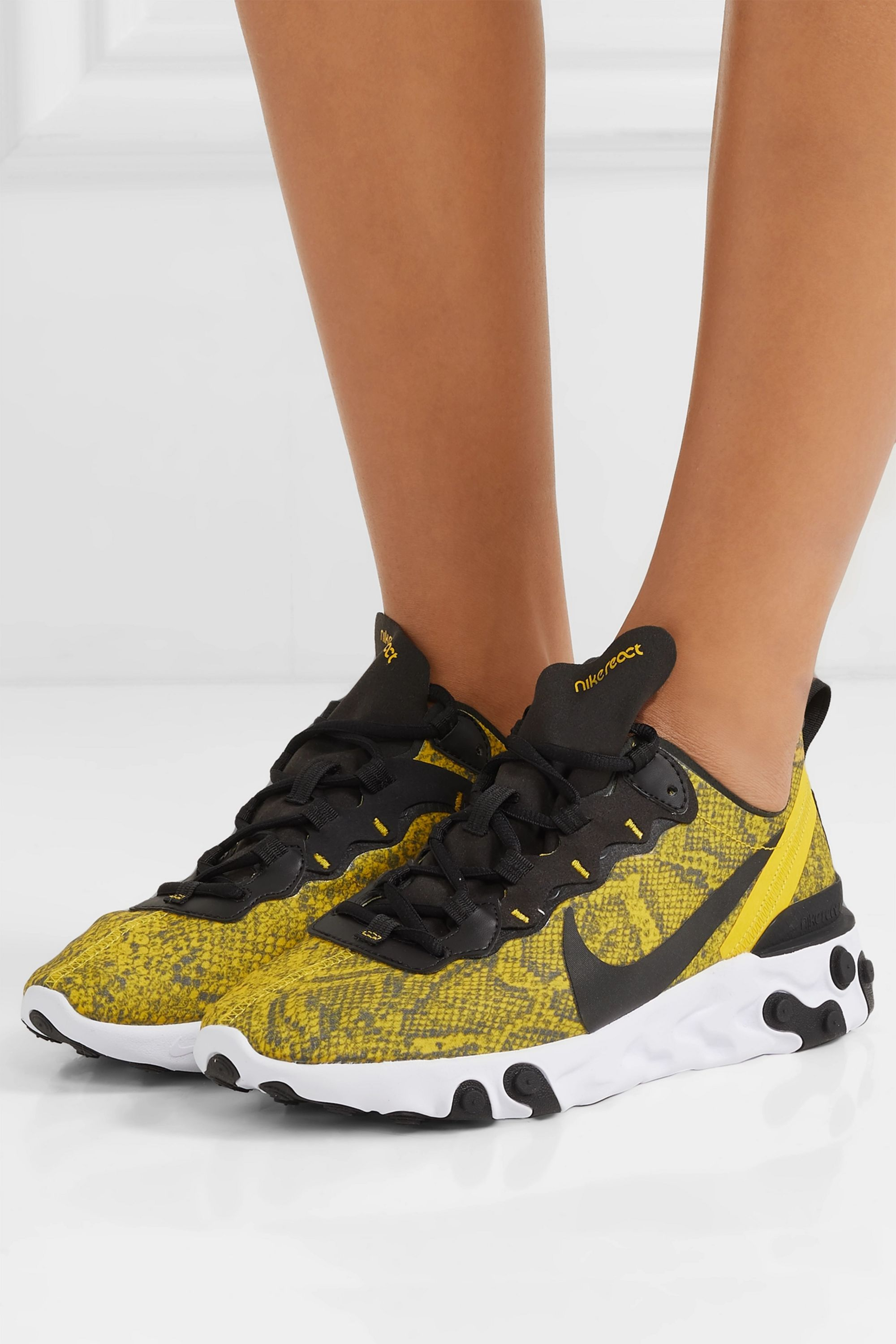 Nike React Element 55 snake-print mesh, faux leather and felt sneakers