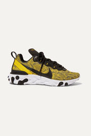 React Element 55 snake-print mesh, faux leather and felt sneakers