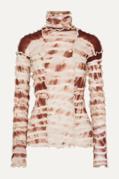 Hotwok Ruffled Tie Dyed Stretch Mesh Turtleneck Top by Asai