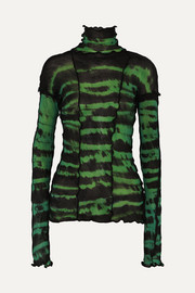 Hotwok ruffled tie-dyed stretch-mesh turtleneck top