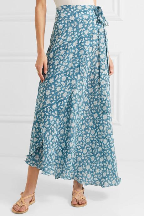 Sapphire floral-print silk crepe de chine wrap skirt