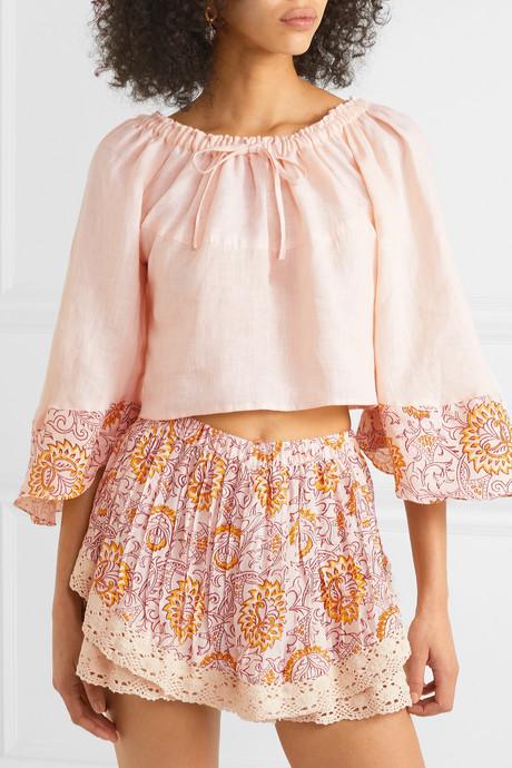 Chai floral-print linen top