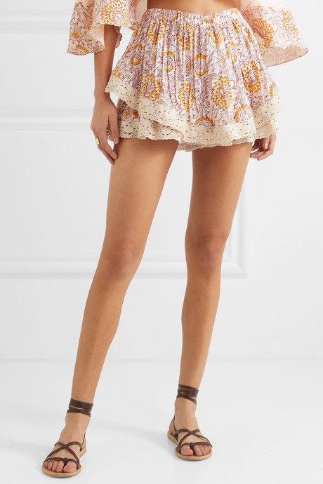 Chai gathered crochet-trimmed floral-print voile shorts