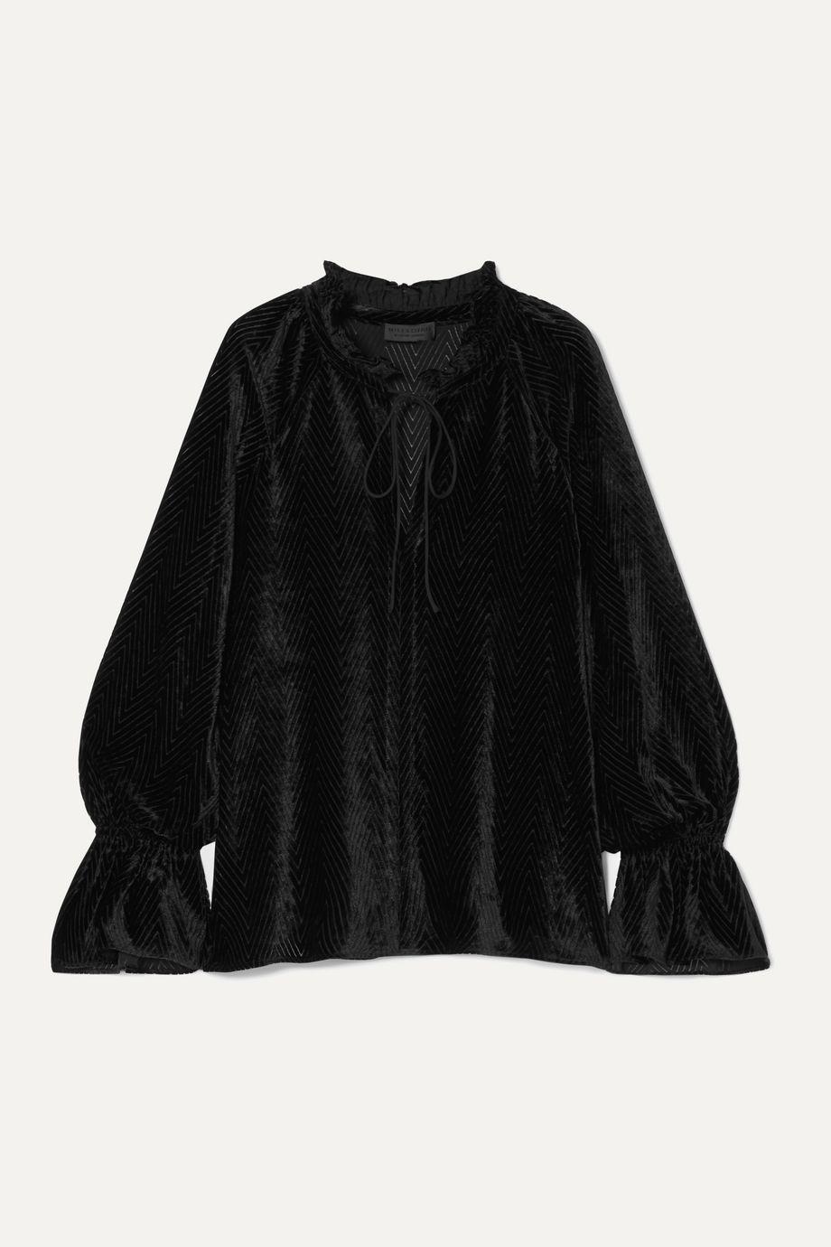 Nili Lotan Royan tie-detailed devoré-velvet blouse