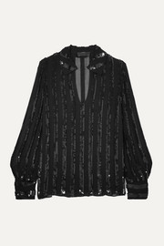 Anette striped sequined chiffon blouse
