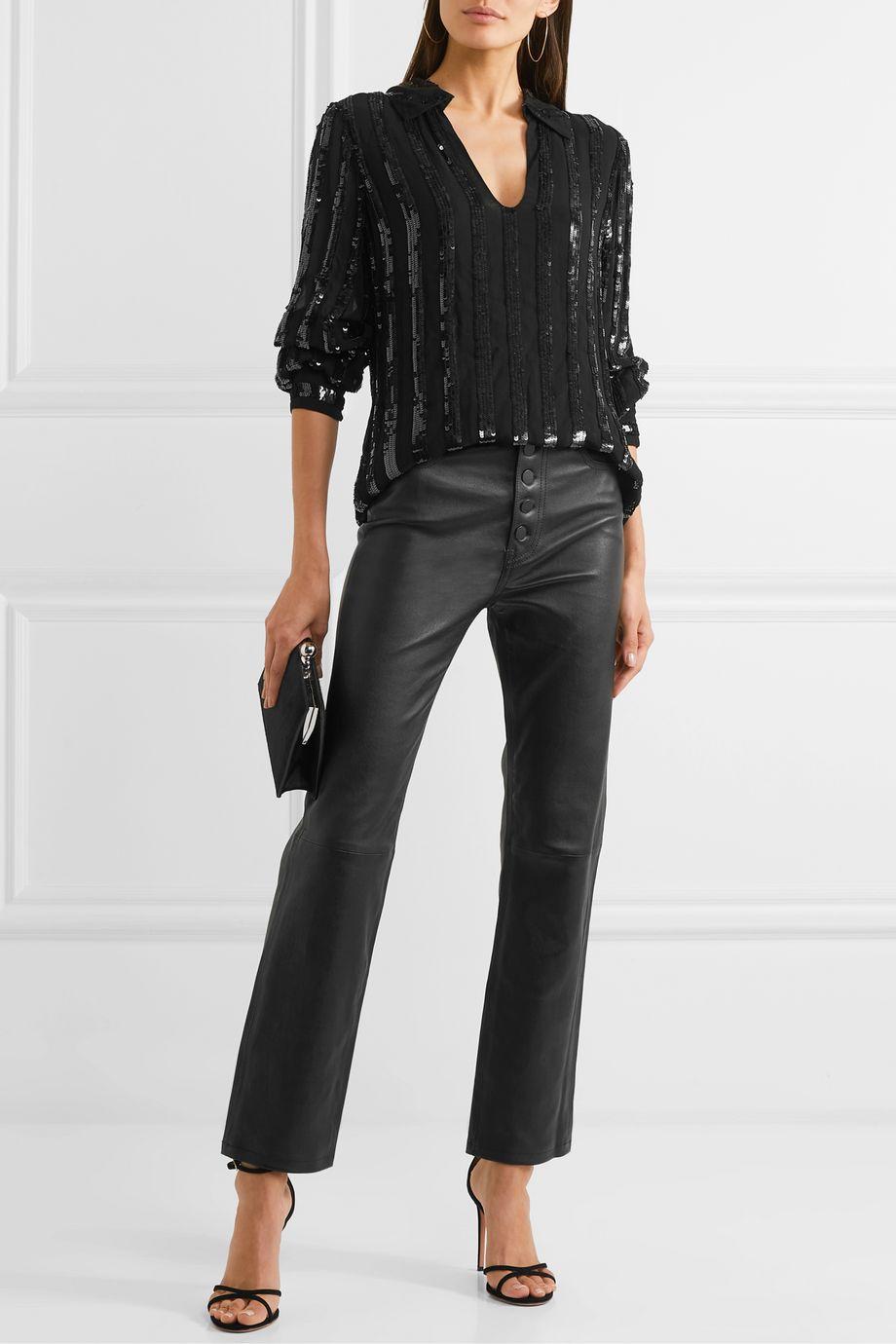 Nili Lotan Anette striped sequined chiffon blouse