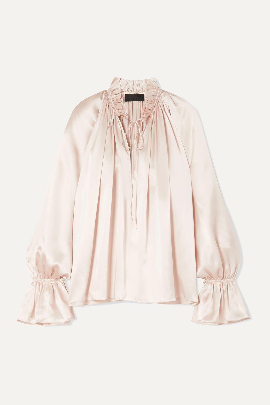 Nili Lotan Arizona tie-detailed gathered silk-charmeuse blouse