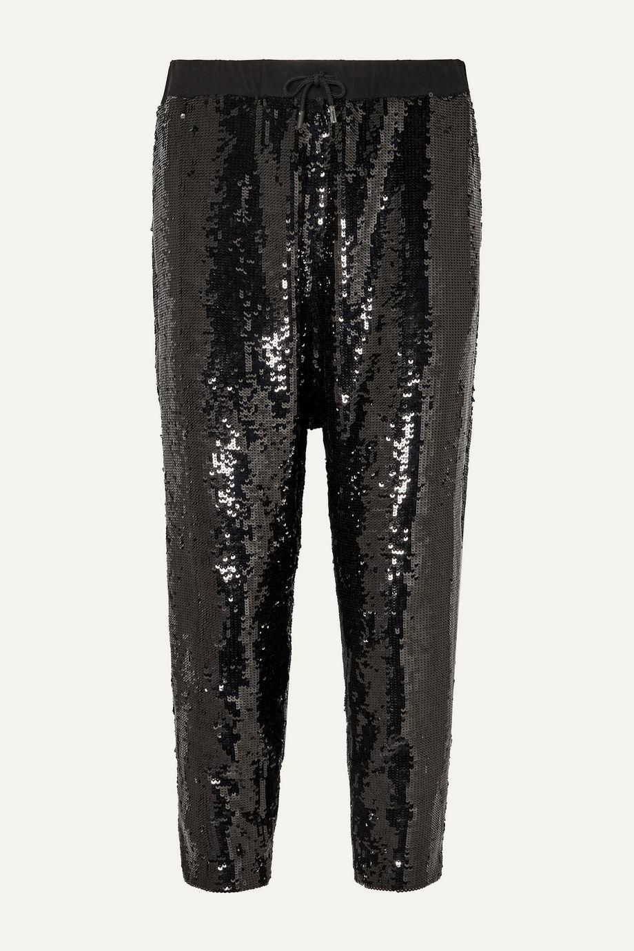 Nili Lotan Delancy cropped sequined crepe track pants