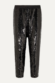 Nili Lotan Delancy cropped sequined crepe track pants