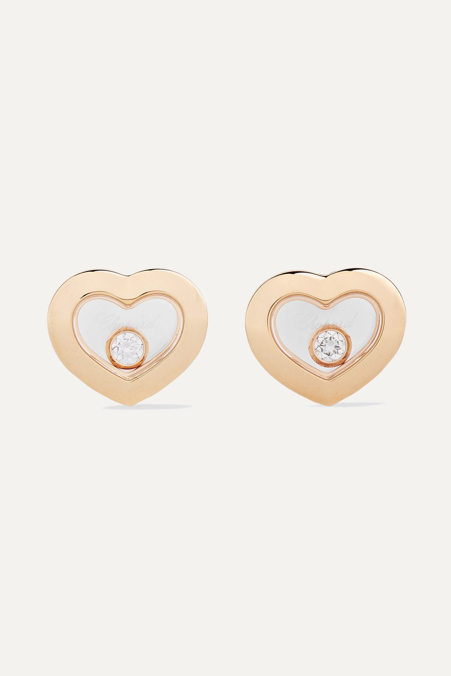 Chopard + NET SUSTAIN Happy Diamonds 18-karat gold diamond earrings