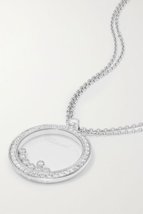 White gold + NET SUSTAIN Happy Diamonds 18-karat white gold diamond necklace | Chopard 6NzyYd