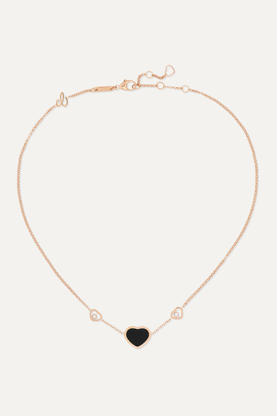 Chopard Happy Hearts 18-karat rose gold, diamond and onyx necklace