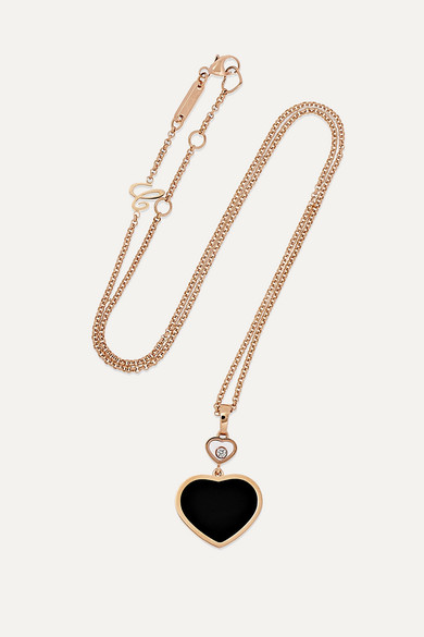 5a913dae979d96 Chopard   Happy Hearts 18-karat rose gold, diamond and onyx necklace ...