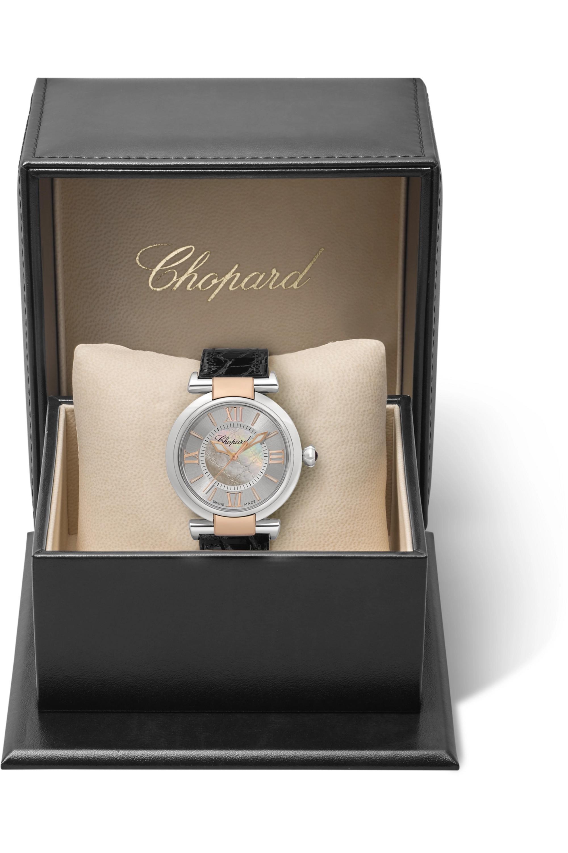 Chopard Imperiale Automatic 29 毫米精钢、18K 玫瑰金、珍珠母腕表(短吻鳄鱼皮表带)