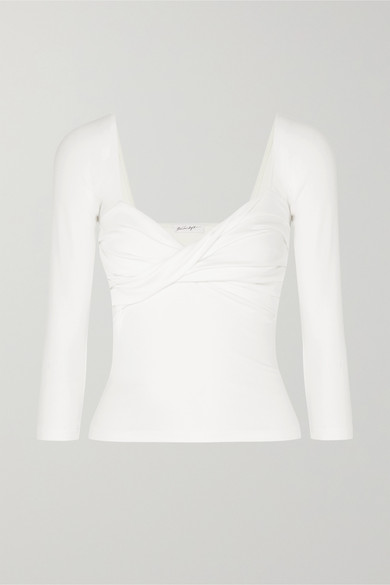 Stevie Twisted Ribbed Cotton Blend Jersey Top by The Line By K