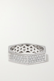 Bague en or blanc 18 carats et diamants Cluster