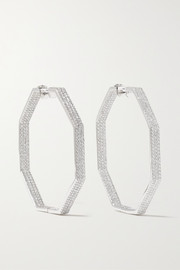 OFIRA Geo 18-karat white gold diamond earrings
