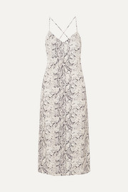 Reformation Kat open-back snake-print crepe de chine midi dress