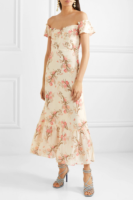 Butterfly off-the-shoulder tiered floral-print crepe dress