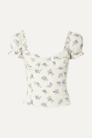 Reformation Jewel cropped shirred floral-print crepe top