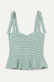Reformation Kassi gingham linen peplum top
