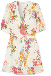 Reformation Monica floral-print georgette mini wrap dress