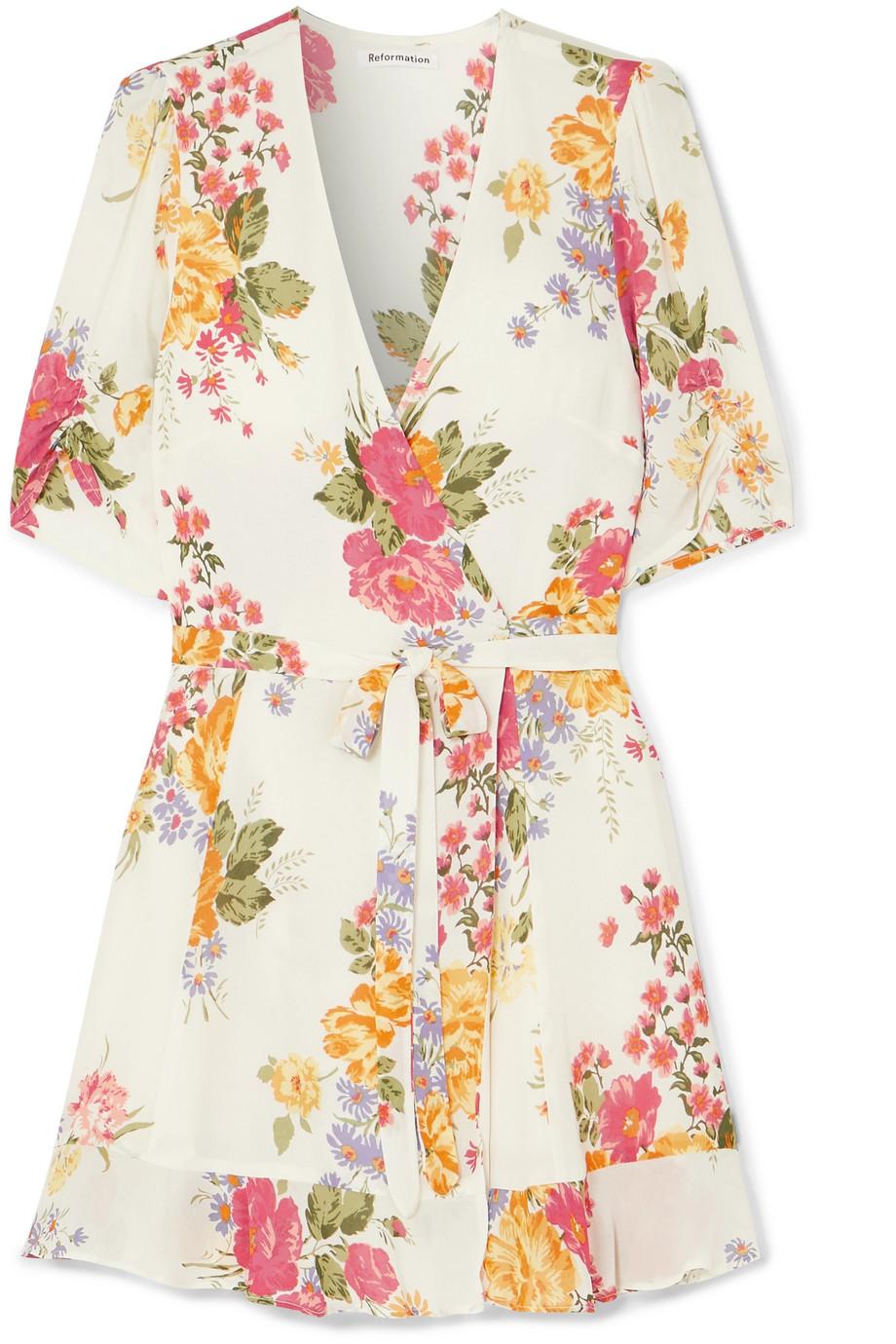 Reformation | Monica floral-print georgette wrap dress | NET-A-PORTER.COM