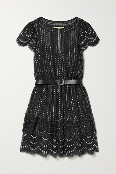 Michael Michael Kors Dress Belted crystal-embellished metallic lace mini dress