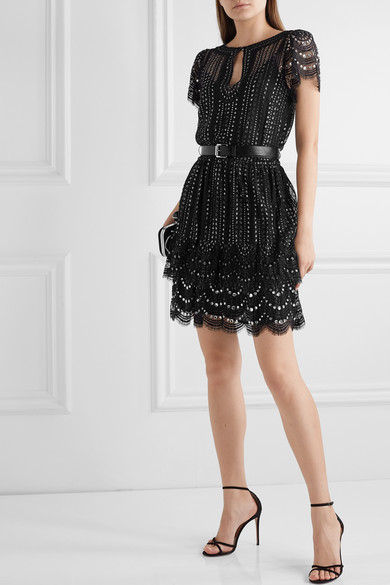 Belted Crystal Embellished Metallic Lace Mini Dress by Michael Michael Kors
