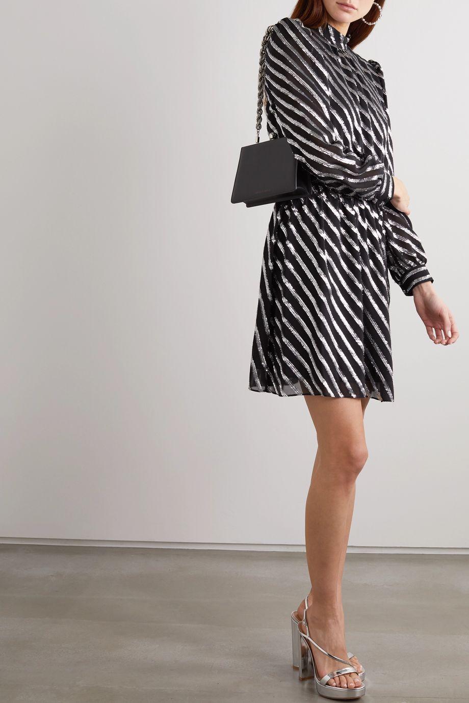 MICHAEL Michael Kors 金属感条纹真丝混纺连衣裙