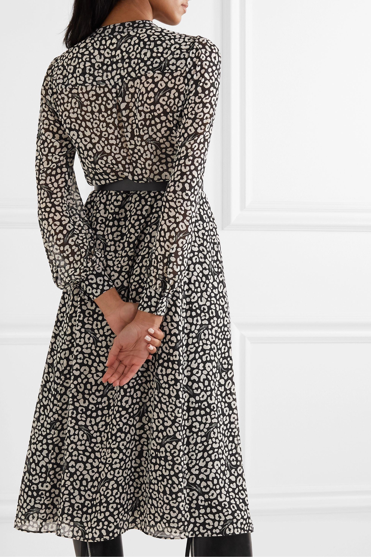 MICHAEL Michael Kors Belted leopard-print crepe midi dress