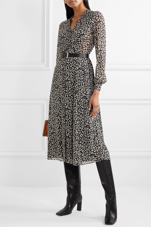 Belted Leopard Print Crepe Midi Dress