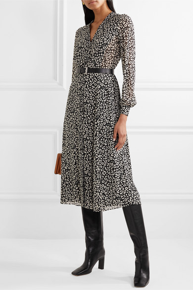 Belted Leopard Print Crepe Midi Dress by Michael Michael Kors