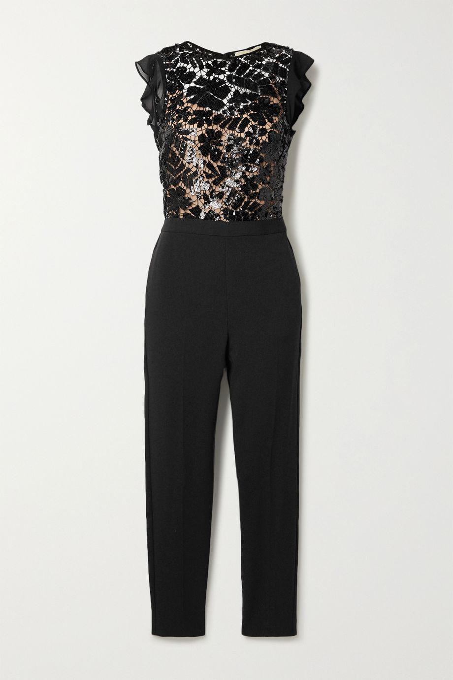 MICHAEL Michael Kors Georgette-trimmed sequined crocheted lace and crepe jumpsuit